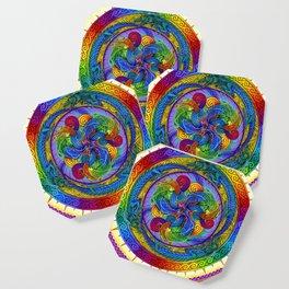 Psychedelic Dragons Rainbow Spirals Mandala Coaster