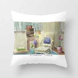 Weekend: Sorted - Watercolor Painting Throw Pillow