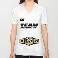 wwe V-neck T-shirts featuring Team Bring It The Rock WWE by ems23