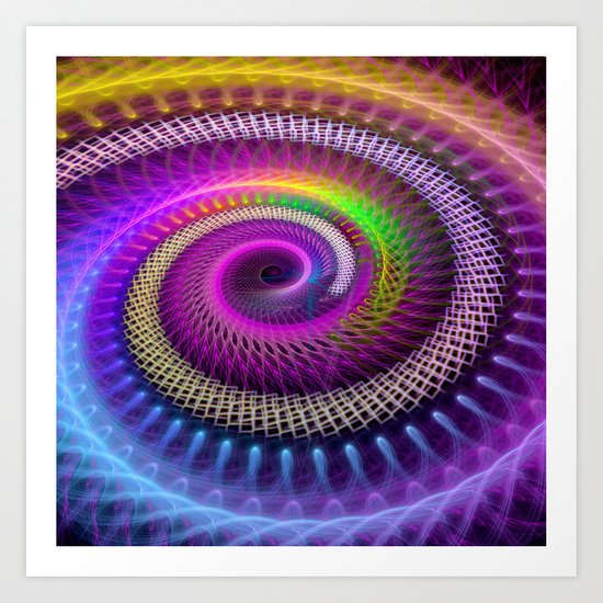 Colorful textured spiral abstract Art Print