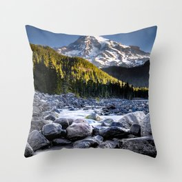 Mt Rainier Morning on the Nisqually #2 Throw Pillow