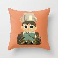 greg guillemin Throw Pillows featuring Greg by mecantdraw