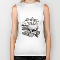 mushrooms Biker Tanks featuring Mushrooms by Arnaud Gomet