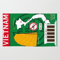 vietnam Area & Throw Rugs featuring Vietnam Hanoi by CHR Design Posters