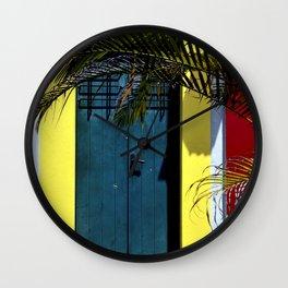 puerto rican blue door Wall Clock