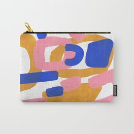 Colorful Minimalist Mid Century Modern Shapes Pink Ultramarine Blue Yellow Ochre Fun Shapes Carry-All Pouch