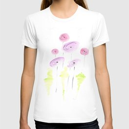 pink and coral poppy flowers T-shirt