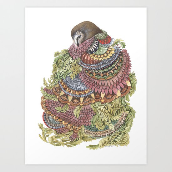 Quilted Forest: The Owl Art Print