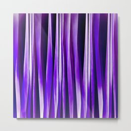 Royal Purple, Lilac and Silver Stripy Pattern Metal Print