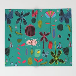 bugs and insects green Throw Blanket