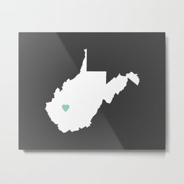 West Virginia Love in Charcoal Metal Print