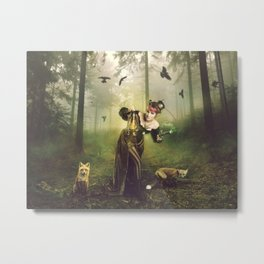Foxes and crows Metal Print
