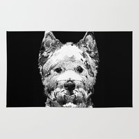 westie Area & Throw Rugs featuring Black And White West Highland Terrier Dog Art Sharon Cummings by Sharon Cummings
