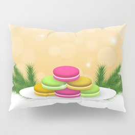 Christmas macaron #colorful #candy Pillow Sham