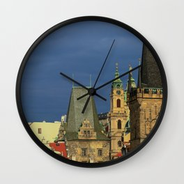 Sunny View on Prague from Charles Bridge (Karlovy Most) Wall Clock