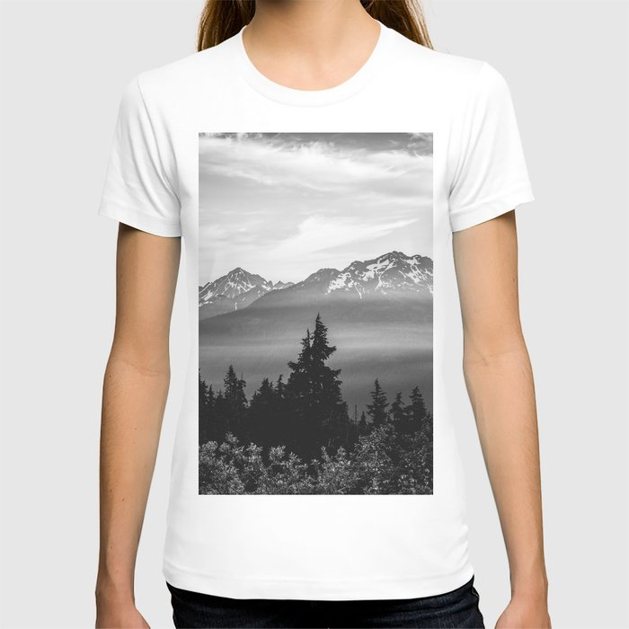 Morning in the Mountains Black and White T-shirt