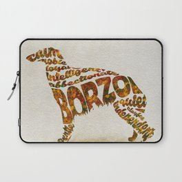 Borzoi Dog Typography Art / Watercolor Painting Laptop Sleeve