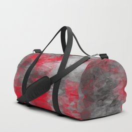 psychedelic geometric polygon shape pattern abstract in red and black Duffle Bag