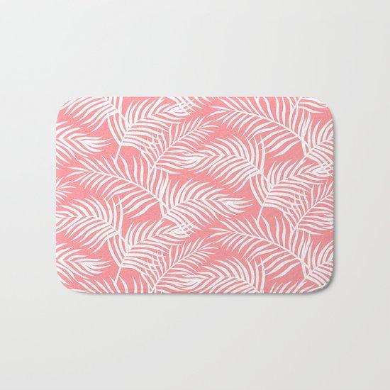 Palm Leaves_Pink Bath Mat