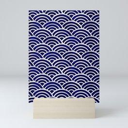 Japanese Seigaiha Wave – Navy Palette Mini Art Print