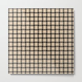 Small Bisque Brown Weave Metal Print