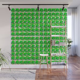 Four leaf clovers and gold horseshoes with green hat that are lucky for some Wall Mural