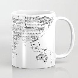 world map music vintage white Coffee Mug