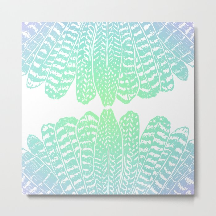 TRIBAL FEATHERS - SEAFOAM Metal Print