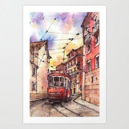 Lisbon ink & watercolor illustration Art Print