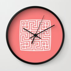Greek Key coral Wall Clock