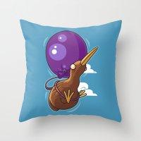 houston Throw Pillows featuring Houston, We Have Kiwi by Artistic Dyslexia