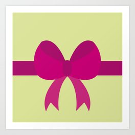 Pink Bow on Soft Green Art Print