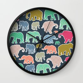 Elephants, Polka Dots, Zigzag (Chevron), Gingham Wall Clock