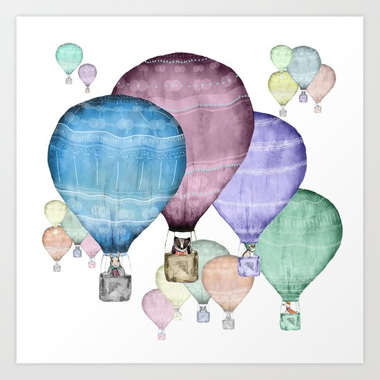 Balloons and animals! Art Print