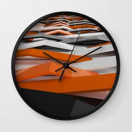 White, black and orange plastic waves Wall Clock