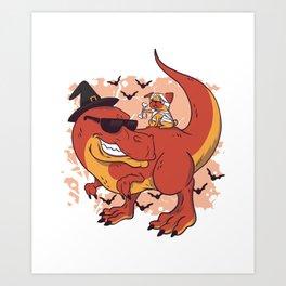 Pug & Dinosaur - Halloween design Art Print