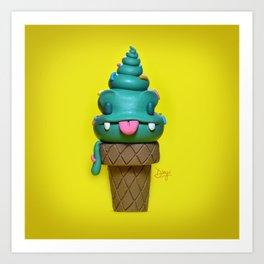 Happy ice cream cone Art Print