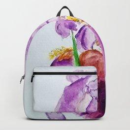 Pinky Purple Iris Bloom watercolor by CheyAnne Sexton Backpack