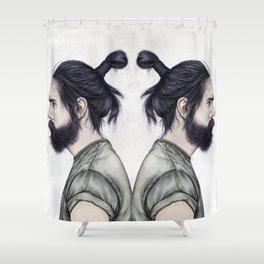 Beard & Top Knot Shower Curtain