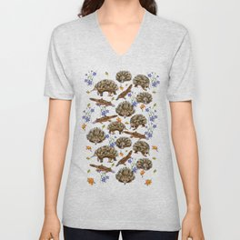 monotremes and wildflowers on apricot Unisex V-Neck
