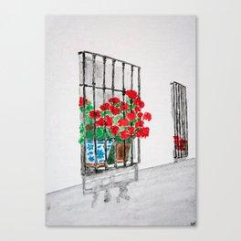 Geraniums in Window Watercolor Canvas Print