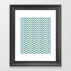 Zigzag striped pattern. Blue, green, white stripes Framed Art Print
