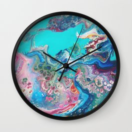 Fluid Nature - Rainbow Sea Dragon - Abstract Acrylic Pour Art Wall Clock