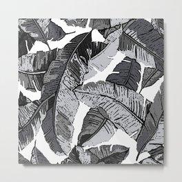 BANANA PALM LEAF PARADISE BLACK AND WHITE PATTERN Metal Print