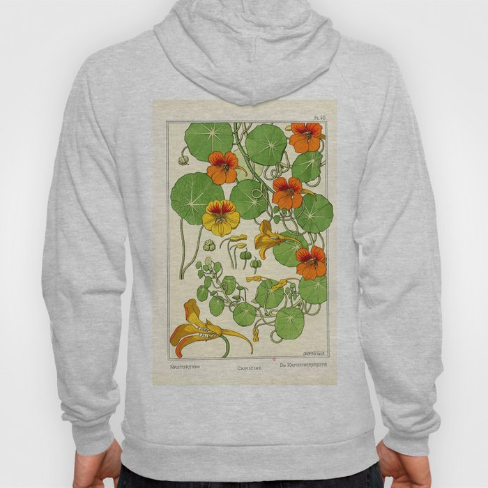 French botanical flower plate - Maurice Verneuil - Capucine Hoody