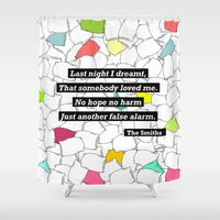 smiths Shower Curtains featuring The Smiths by Adrian Roman