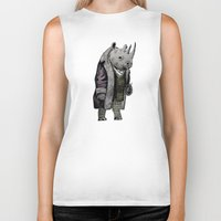 suits Biker Tanks featuring Animals in Suits - Black Rhino by Katadd