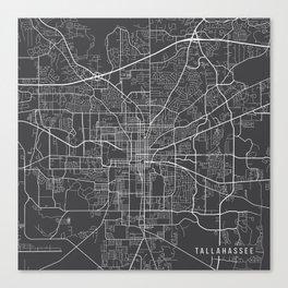 Tallahassee Map, USA - Gray Canvas Print