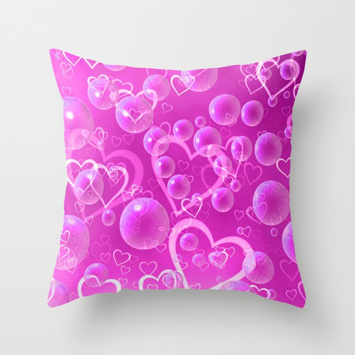 Hearts and Bubbles Throw Pillow
