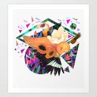 kris tate Art Prints featuring PAPAYA by Carboardcities and Kris tate by cardboardcities